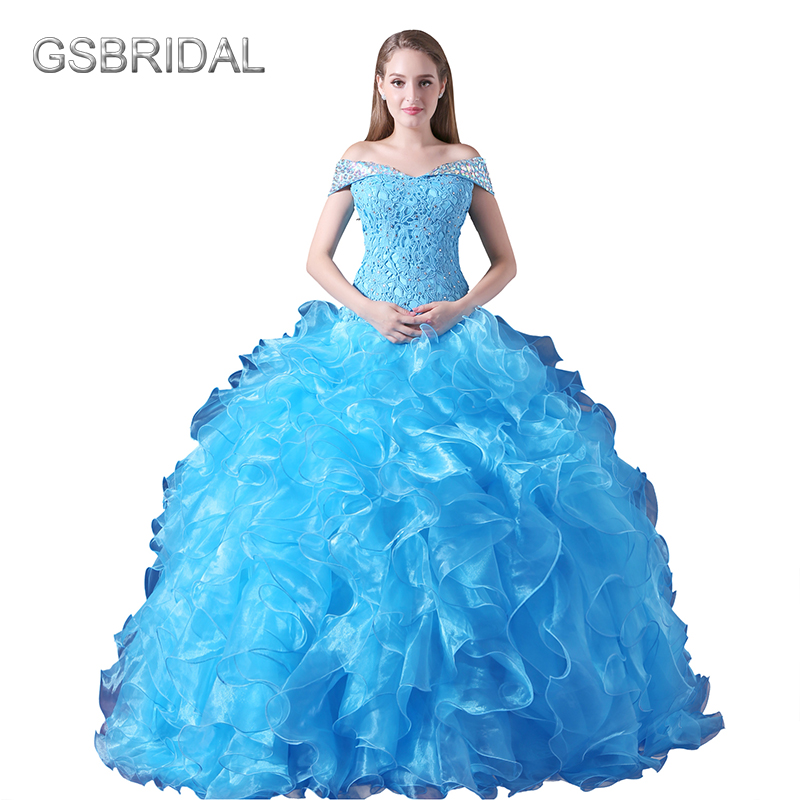 GSBRIDAL Lake Blue Off the Shoulder with Short Sleeves Ball Puffy Ruffle Skirt Quinceane ...