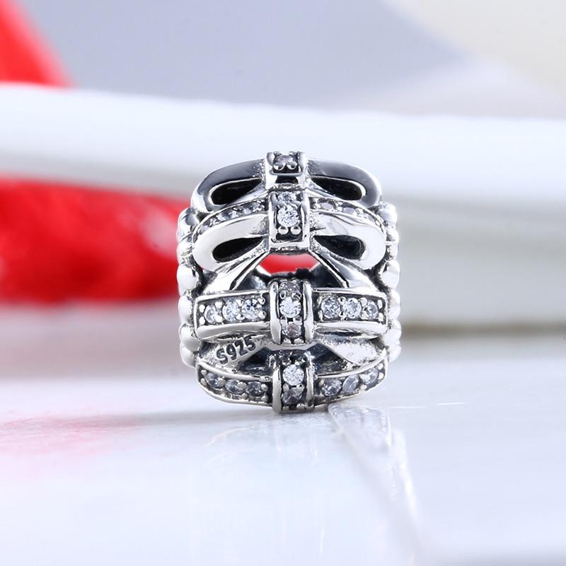 Высокое качество Аутентичные ювелирных изделий ручной работы с бантом DIY CZ Бусины Pulseira Fit Подвески Пандора Серебро 925 оригинальный браслет