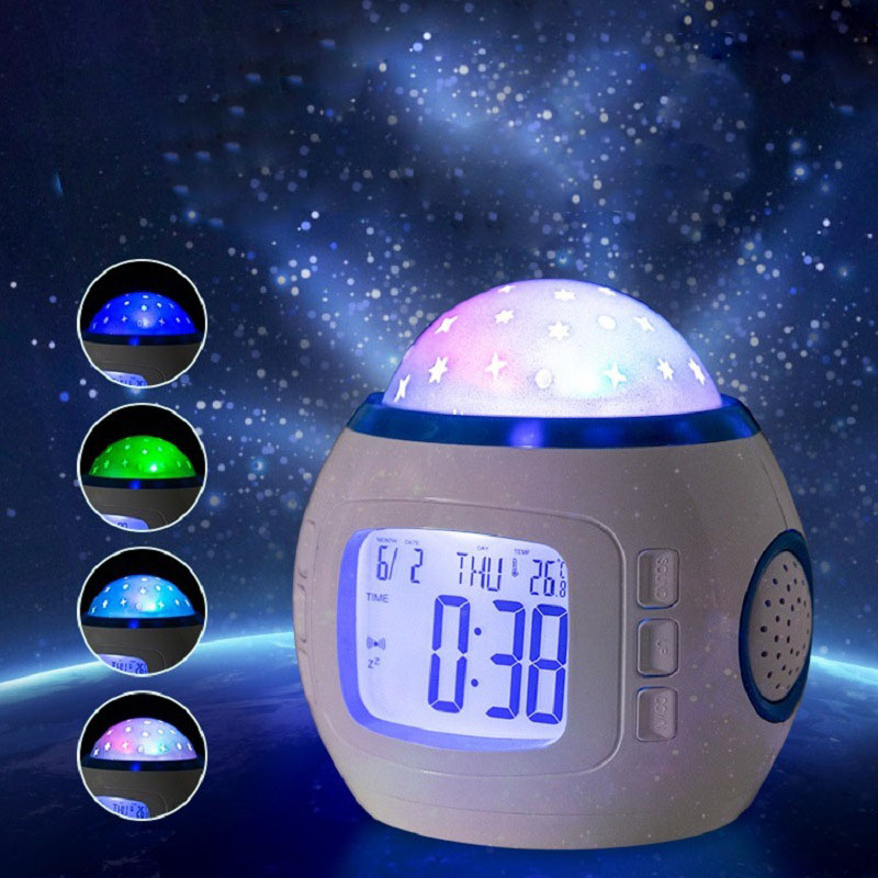 LED night light bedroom creative alarm clock bedside lamp color starlight led projection lamp gift children's room atmosphere