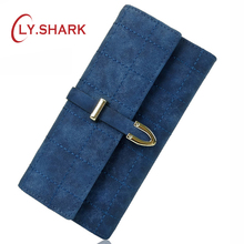 LY.SHARK Brand Plaid Nubuck Leather Female Wallet Women Purse Coin Credit Card Holder Business Travel Lady Clutch Bag Organizer