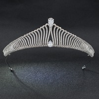 High Quality Classic CZ Cubic Zirconia Wedding Bridal Silver Tone Tiara Crown Diadem Women Hair Jewelry Accessories S90011