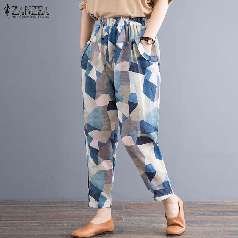 ZANZEA Printed Women Summer Wide Leg Pants Casual Loose Cotton Long Trousers Elastic Waist Pantalones Mujer Streetwear Plus Size