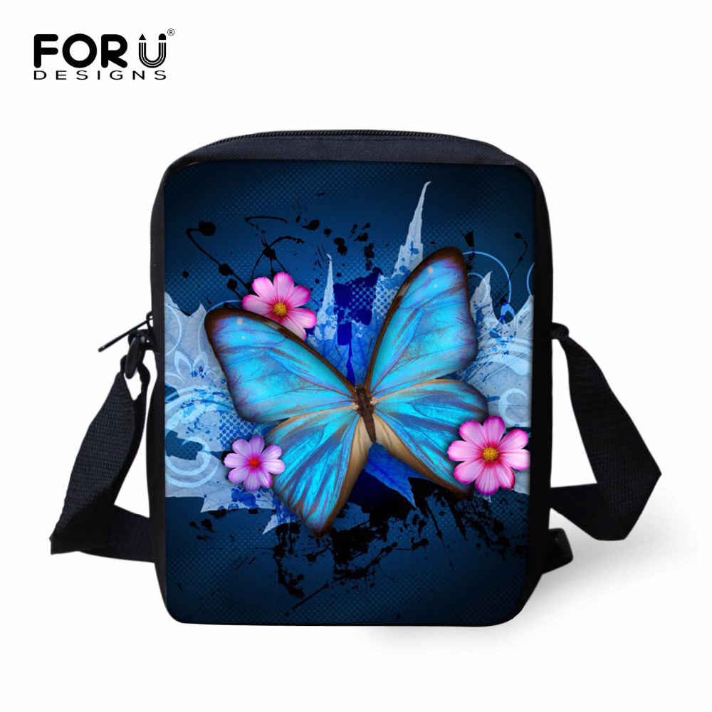 FORUDESIGNS Child Shoulder School Bag 3D Butterfly Animal Kids Small Cross-body Schoolbag For Girls Book Bags Mochila Infantil