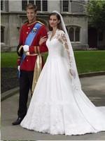 2017 Vestido DE Noiva Luxury Sexy Lace Applique V Neck Long Sleeve Kate Middleton DA96 Princess
