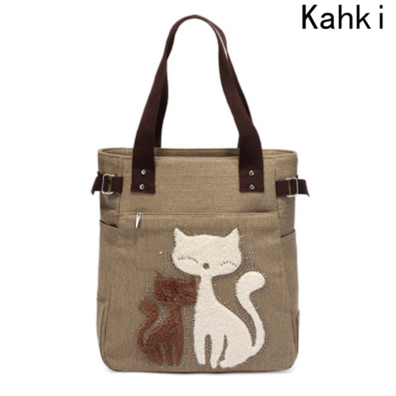 Canvas Bag Ladies Shoulder Bags Cute Handbag New Women`s Cat Appliques Portable Handbags