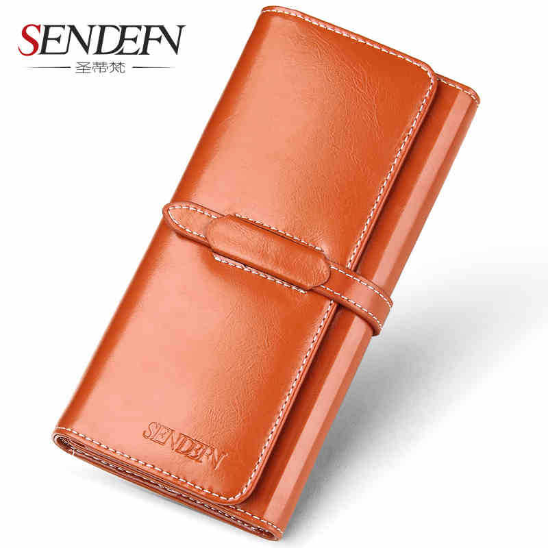 Women's Purse Vintage Style Leather Hasp Women Wallet with three fold large capacity Long Lady Purse Card Holder Female Wallets korean style women wallet solid color long pattern wallets hasp large capacity bag lady money purse card holders female wallet
