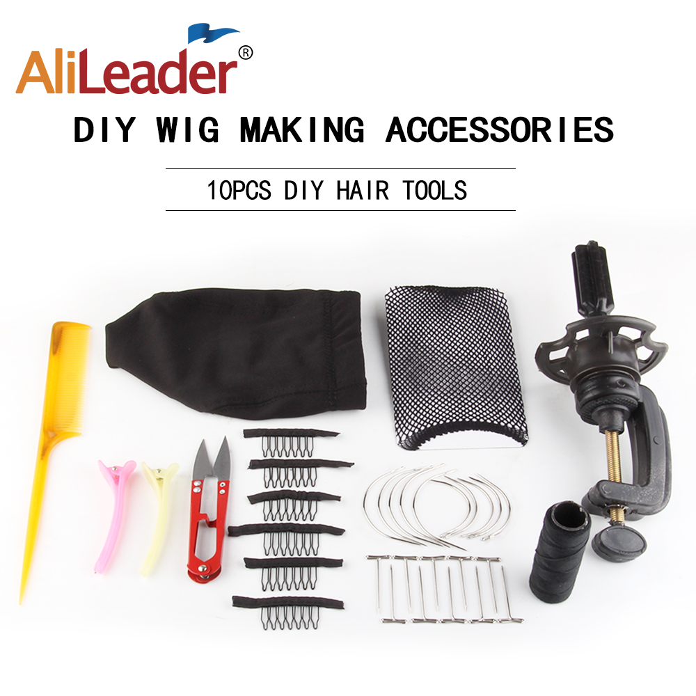 Able Alileader 10pcs/set Human Hair Wigs Making Tools Kit Comb Clip/c Needle/t Pin/dome Wig Cap/wave Thread/mannequin Head Holder Carefully Selected Materials Hairnets Hair Extensions & Wigs