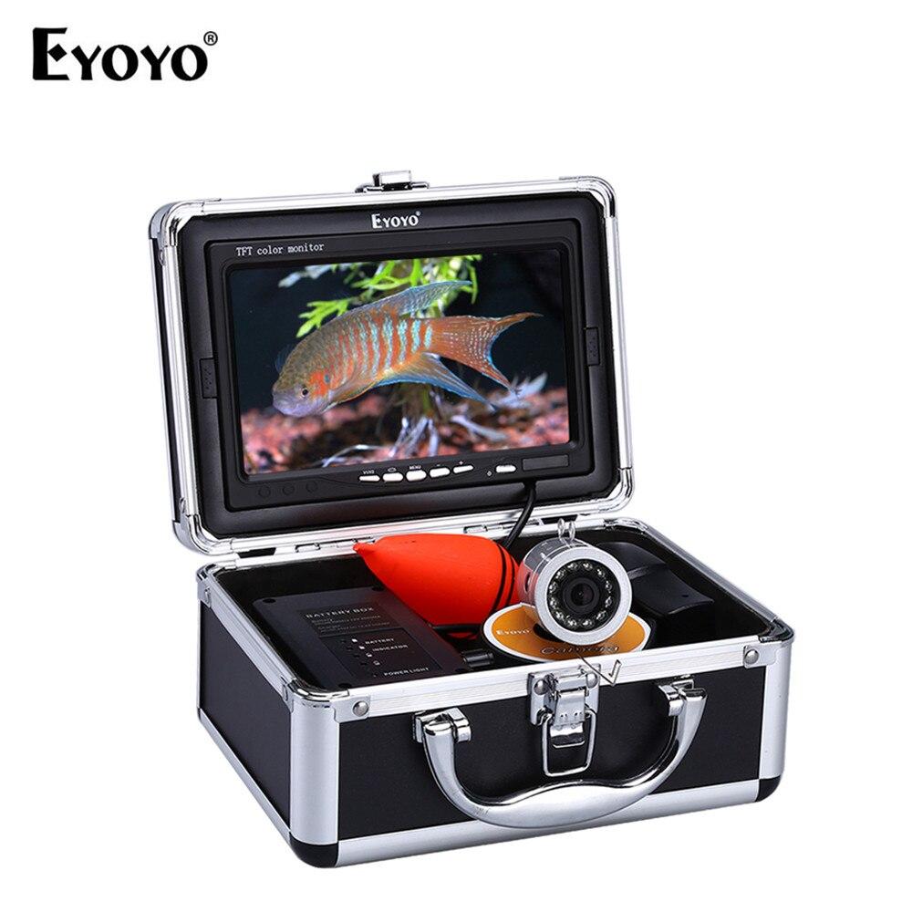 Eyoyo 7 30 m infrarrojos IR LED buscador de los pescados caja de la batería ajustable Cámara pesca submarina 1000TVL envío 8 GB DVR Monitor