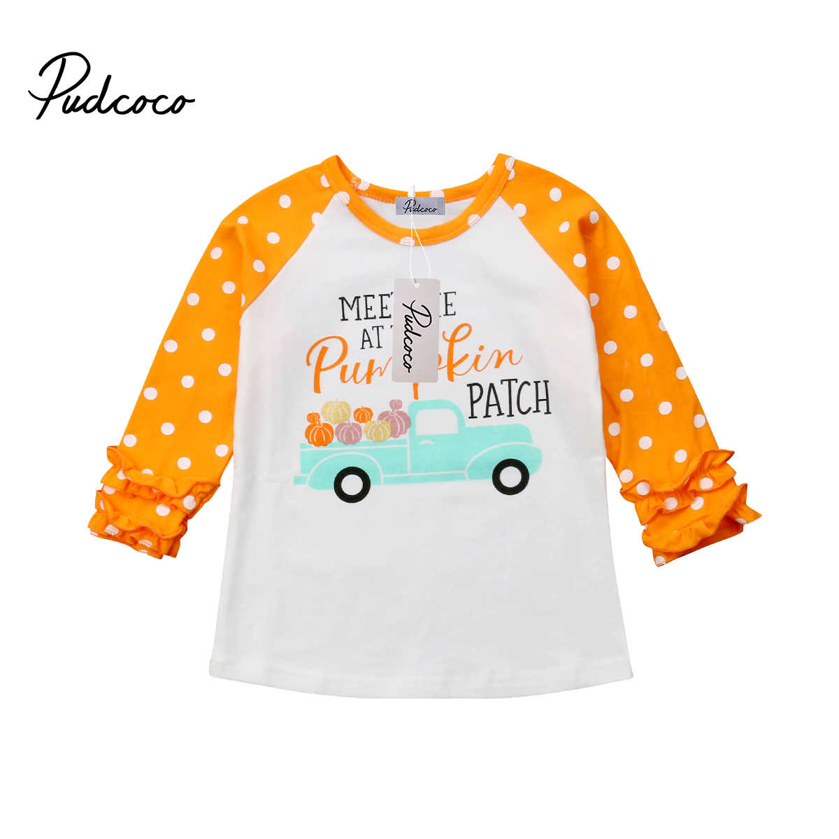 New Toddler Baby Kids For Girl Unicorn Pumpkin Car Long Sleeve Floral Side Cotton T-shirt Top Clothes