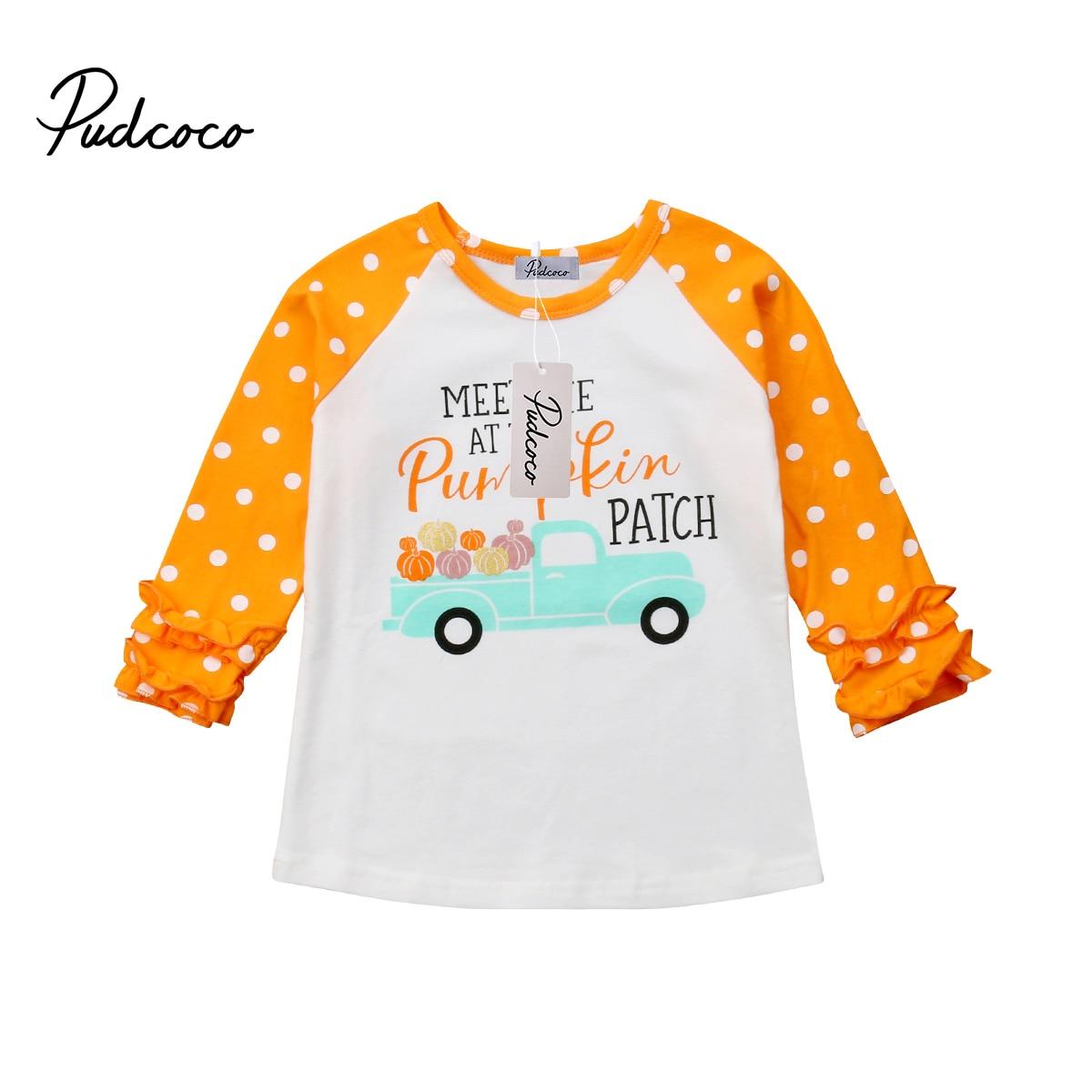 Nieuwe Peuter Baby Kinderen Voor Meisje Eenhoorn Pompoen Auto Lange Mouw Bloemen Side Katoenen T-shirt Top Kleding