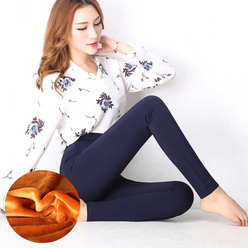 WKOUD S-4XL Lady Casual Leggings Winter Warme Fluwelen Dikker Leggings Hoge Taille Broek Vrouwen Sneeuw Hot leggings Bootcuts P8668