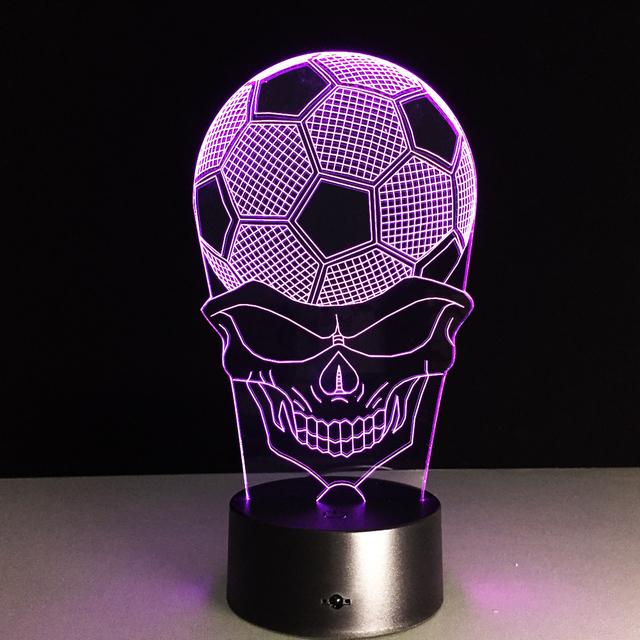 7 COLORS CHANGE 3D FOOTBALL SKULL LED LAMP