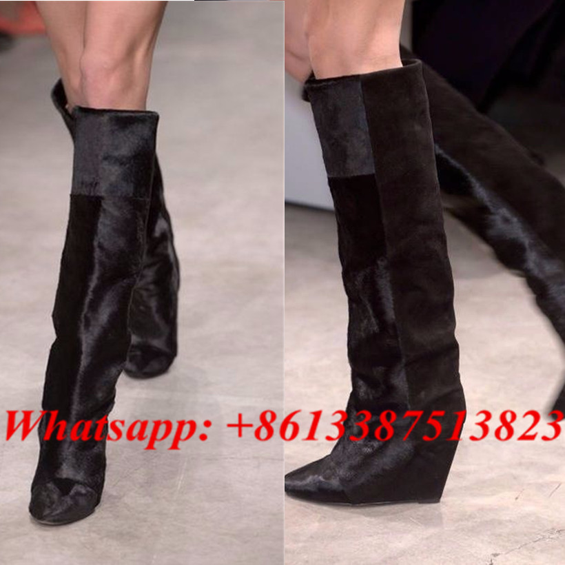 где купить  Black Suede Horse Hair Patchwork Wedges Women Boots Pointed Toe Slip-On Fashion Brand Knee High Boots Fall Winter Shoes Woman  по лучшей цене