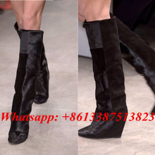 Black Suede Horse Hair Patchwork Wedges Women Boots Pointed Toe Slip-On Fashion Brand Knee High Boots Fall Winter Shoes Woman