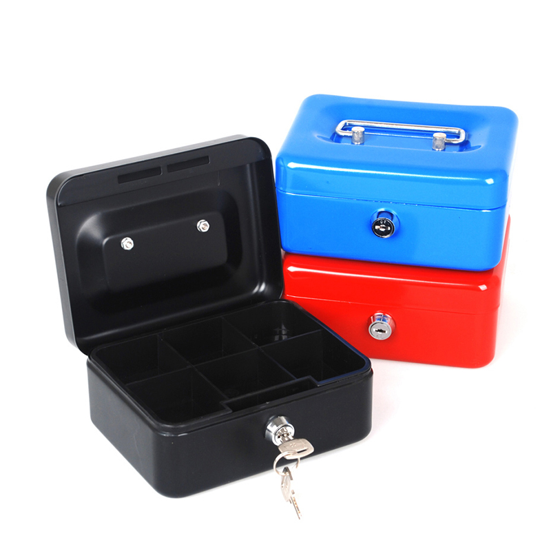 Free Shipping Mini Portable Steel Petty Lock Cash Safe Box For Home School Office Market Lockable Coin Security box giantree portable money box 6 compartments coin steel petty cash security locking safe box password strong metal for home school