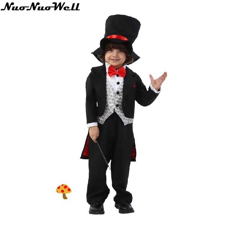 Free Shipping Boy Handsome Magician Suit Halloween Children Black Suit With Hat & Wand Masquerade New Year Party Cosplay Costume