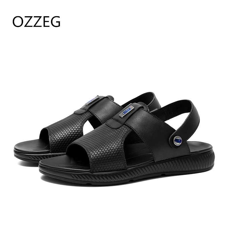 Fashion Summer Sandals Mens Cow Leather Beach Sandals Slippers Casual Men Shoes Rome Sandals Flat Slip On Shoes For Man Sapatos
