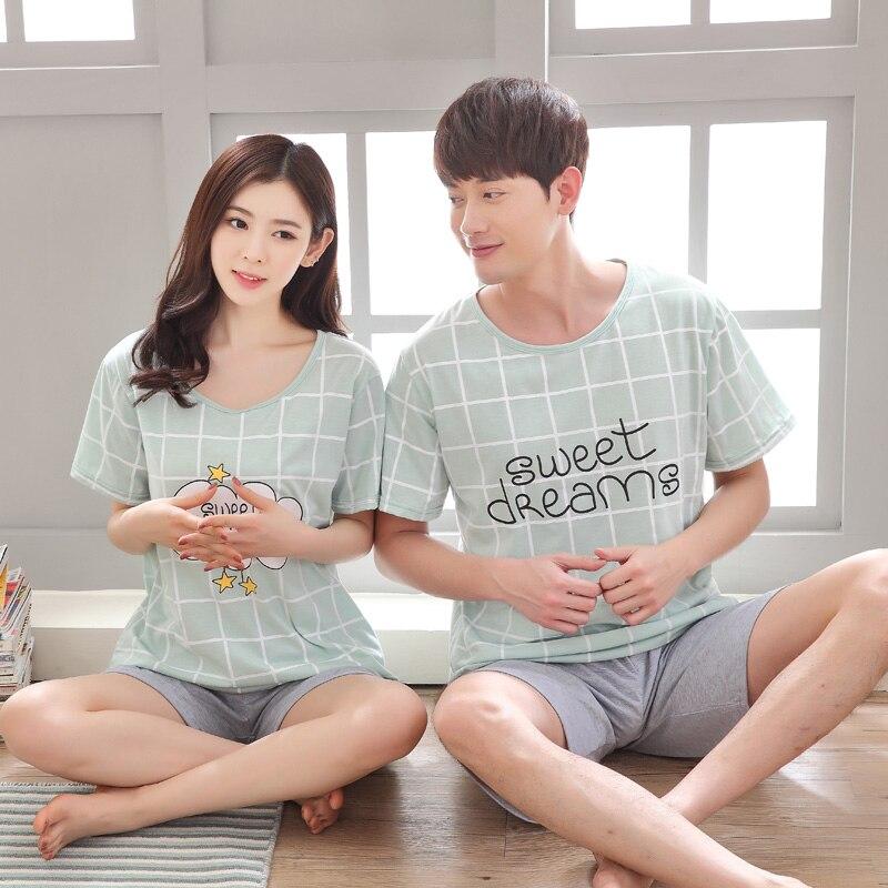 Summer Cotton Short Sleeved Pajamas Sets For Women Plaid Pajama Sweet Girl Sleepwear Couple Pyjama men Lounge wear Home Clothing