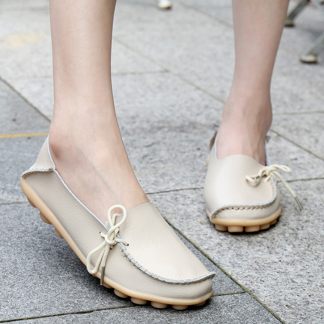 Casual Women Flat Heel Cow Muscle Outsole  Flat 21 colors Plus Size Lace-Up Women Genuine Leather Shoes