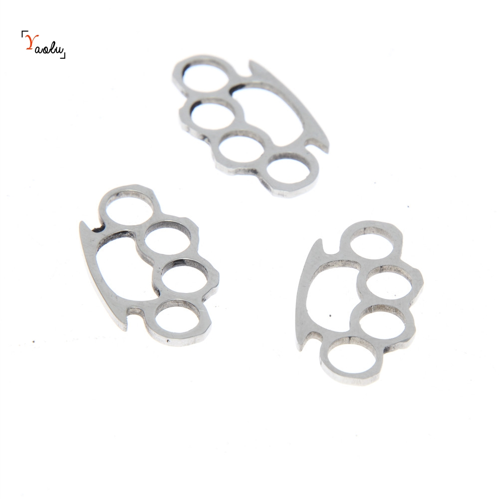 Brass Knuckle Charm Pendant Stainless-Steel Emblem Amulet 20x11.5mm 5piece/Lot title=