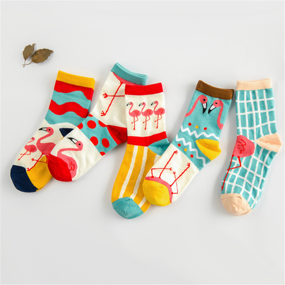New Cotton Ankle Flamingo Socks Women Colorful Harajuku Woman Funny Flamingo Socks Winter Cheap Wine Sock Happy Girl Sock image