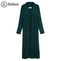 Sishot Women Casual Knitwear 2017 Autumn Slim Red Knitting Long Sleeve Cashmere Green Lapel Long Open