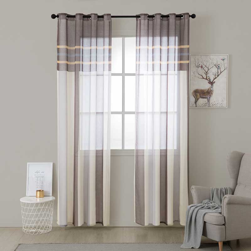 US $8.8 62% OFF|ENHAO Modern Striped Tulle Curtains for Living Room Bedroom  Kitchen Voile Sheer Curtains for Window Tulle Curtains Drapes Door -in ...