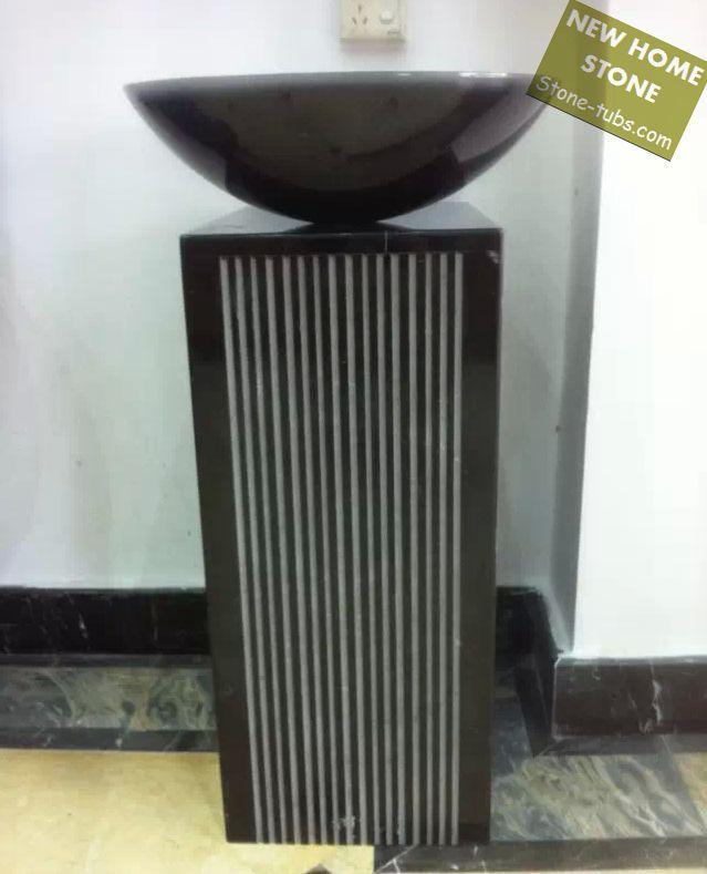 Black bathroom pedestal sink round counterton wash basin ...