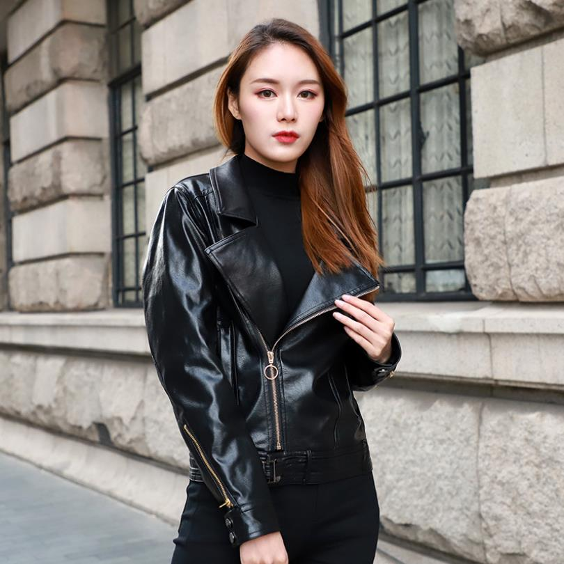 Spring new fashion brand zippers stitching locomotive   leather   outwear female was thin pu   leather   jacket factory direct wq1030