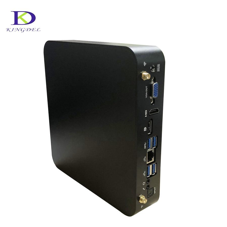 Kingdel Three Display Mini PC Intel Quad Core I7 7700HQ 6M Cache 16GB DDR4 512GB SSD Mini HTPC 4096*2304@30Hz DP Windows 10 Pro