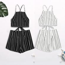 FREE SHIPPING Striped Halter Top With Short JKP413