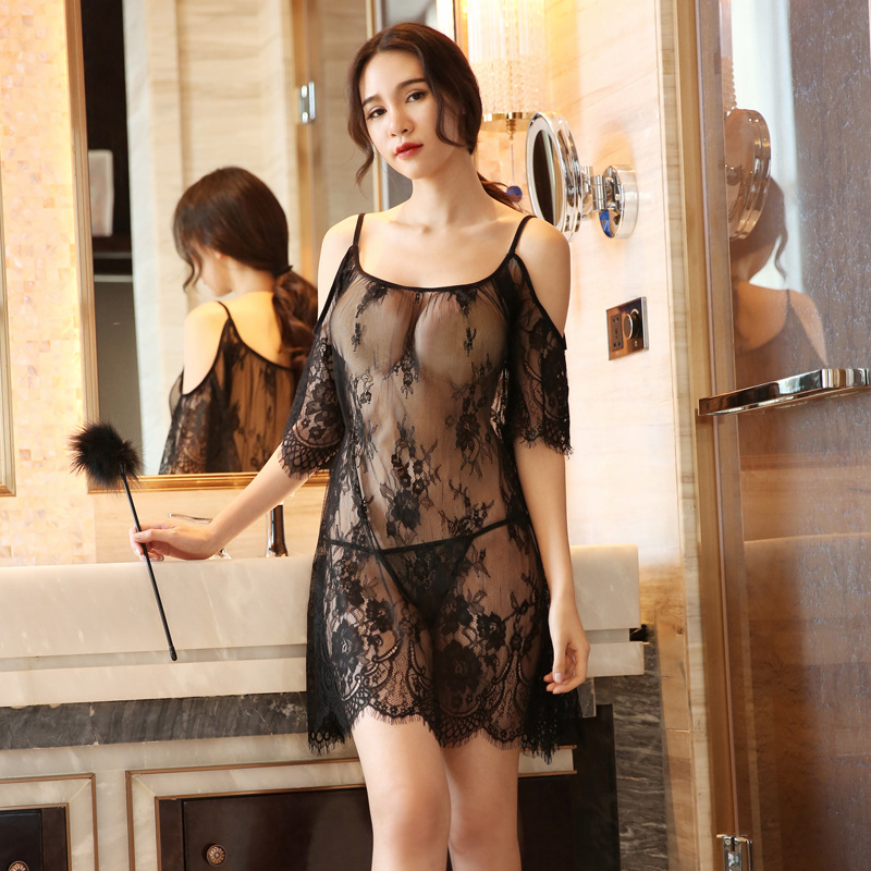 Yhotmeng2019 new mesh transparent sexy sling five-point sleeves flowers sexy lace pajamas nightdress set black and white(China)