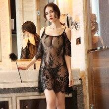 Yhotmeng2019 новые сетчатые прозрачные сексуальные слинги с пятиточечными рукавами с цветочным принтом сексуальные кружевные пижамы Ночная рубашка набор черный и белый