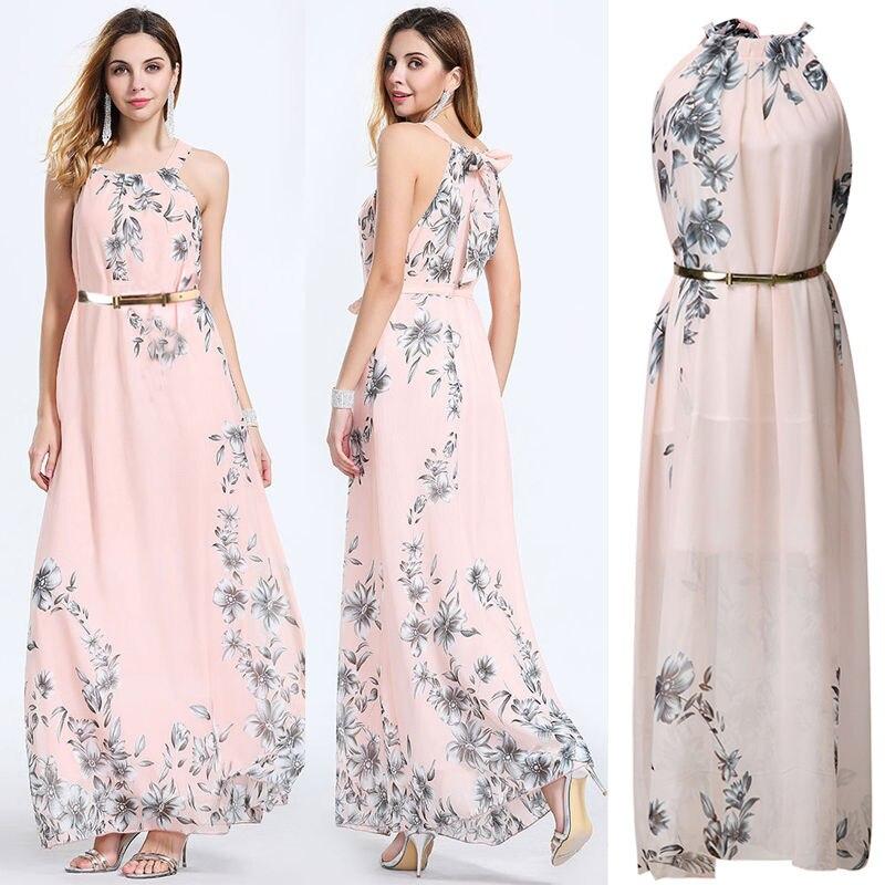 Hirigin 2017 Women Maxi Dress Flower Dresses Wiht Gold Belt Sleeveless Bandage Bodycon Dress For Fashion Women Smooth Material