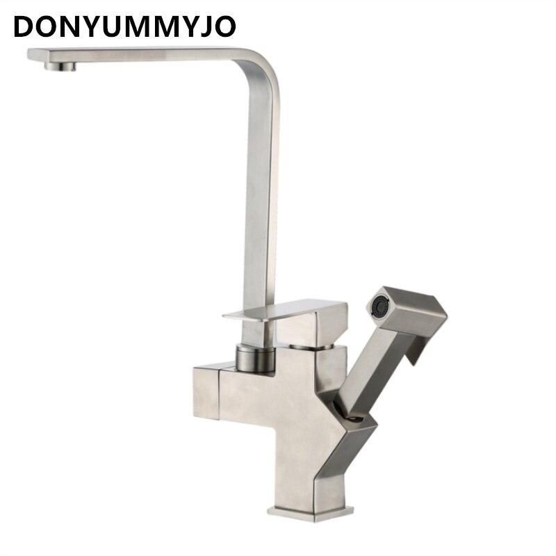 304 évier de cuisine en acier inoxydable Quadruple multi-fonction Pull-type robinet pistolet évier chaud et froid mélange et 2 tuyaux
