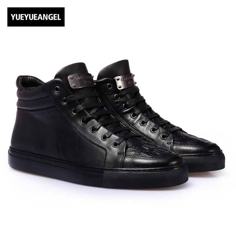Korean Fashion Casual High Top Shoes Men Lace Up Chaussure Zipper 2018 New Genuine Leather Male Casual Flats Black Punk Footwear top brand high quality genuine leather casual men shoes cow suede comfortable loafers soft breathable shoes men flats warm