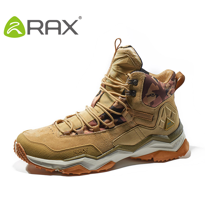 RAX Men Hiking Shoes Antiskid Mountain Climbing Sneakers Women Breathable Geuine Leather Lightweight Trekking Outdoor Shoes Men