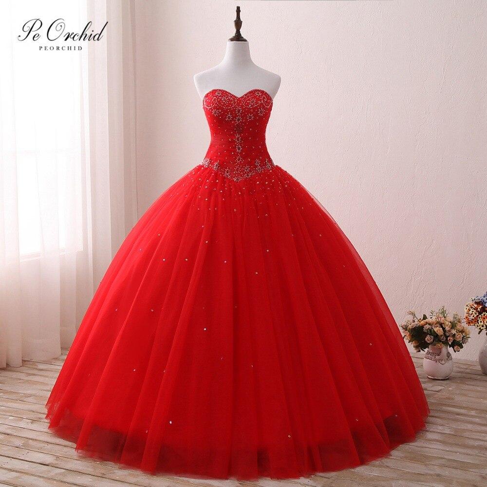 Robe De bal rouge en Tulle peorchidée robes De Quinceanera robe De bal perlée douce seize gonflée pour le bal 2019