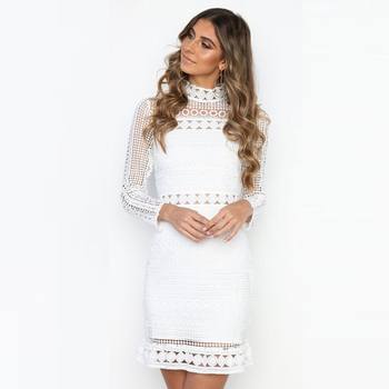 Hollow Mock Neck Lace Dresses3
