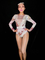 2018 Women New Flowers Big Pearls Bodysuit Birthday Celebrate outfit Stretch Sexy Dance Leotard Stage Performance Costume
