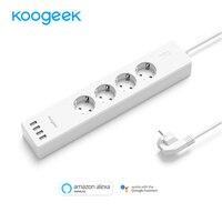 Koogeek WiFi Smart Power Strip 4 Port USB 4 AC Outlets USB Wall Socket Power Surge Protector For Alexa Google Home and IFTTT