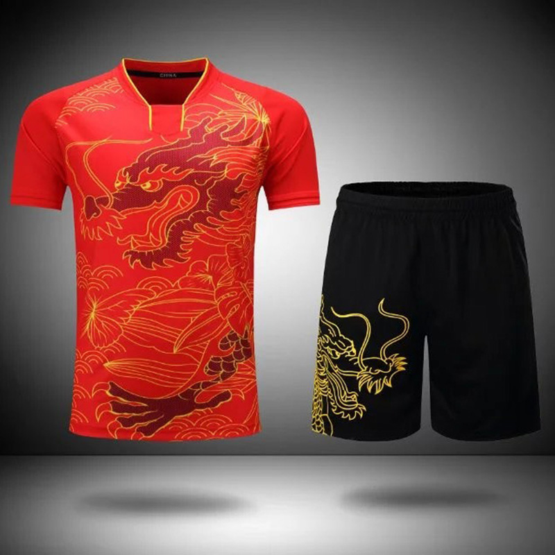 XingDeng CHINA Dragon Table Sets Men's/Women Dry-Cool Ping Pong Short Suit Clothes Free Printing Name