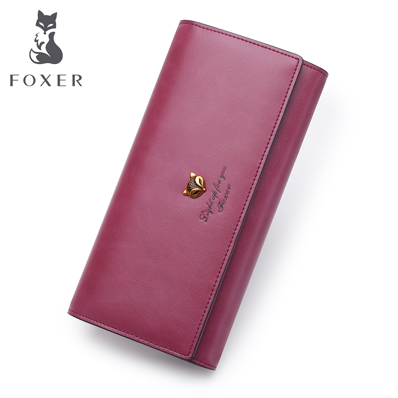 FOXER Brand Female Long Wallets Retro Leather Wallet 2017 New Fashion Lady Wallet Simple And Stylish Women Long Purse