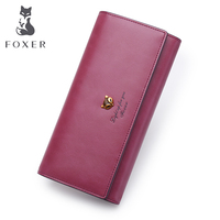 FOXER Brand Female Long Wallets Retro Leather Wallet 2017 New Fashion Lady Wallet Simple And Stylish