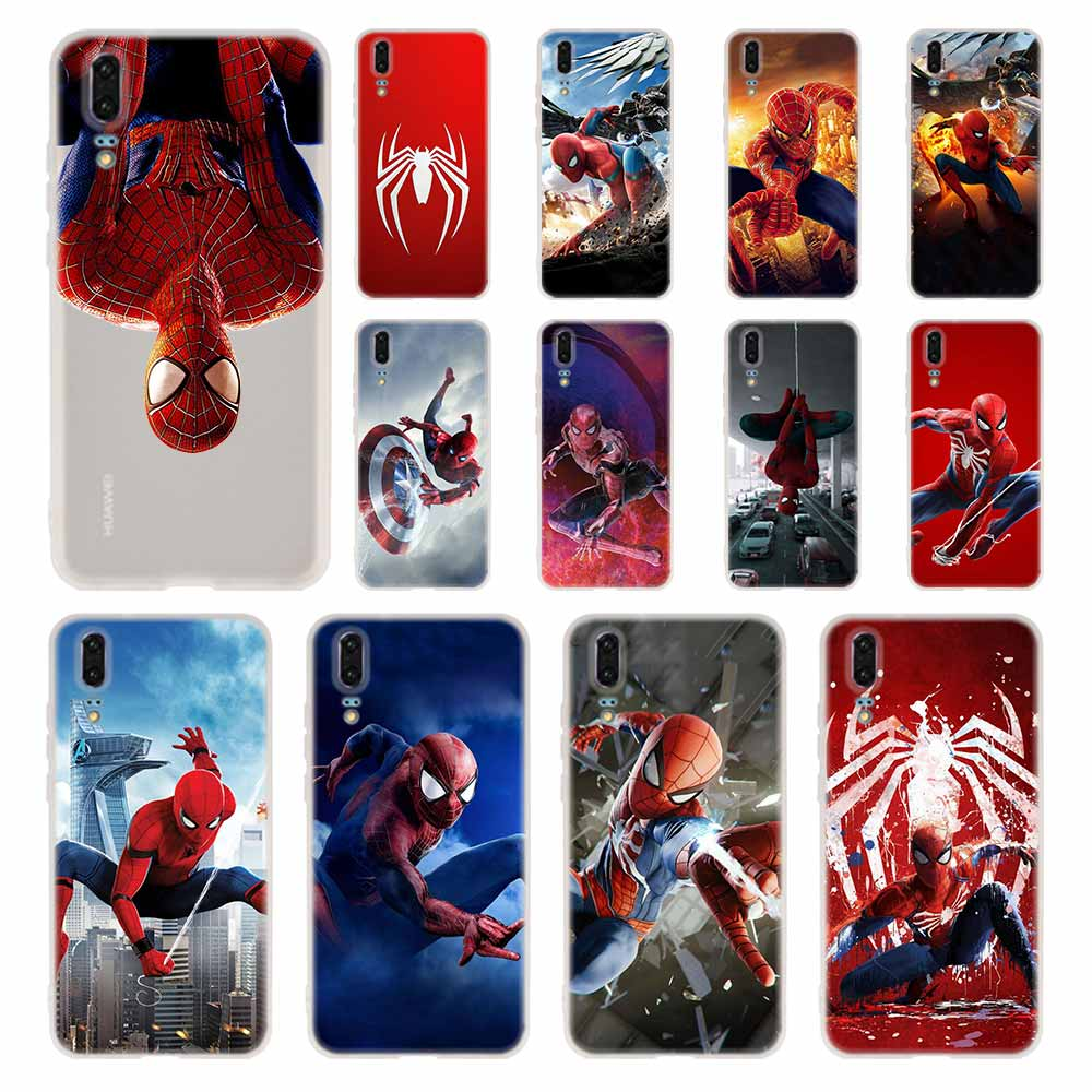 <font><b>MARVEL</b></font> spiderman Phone Case For <font><b>Huawei</b></font> P8 P9 <font><b>Lite</b></font> 2017 <font><b>P10</b></font> P20 P30 <font><b>Lite</b></font> Plus Pro P Smart 2019 <font><b>Cover</b></font> Soft <font><b>Cover</b></font> image