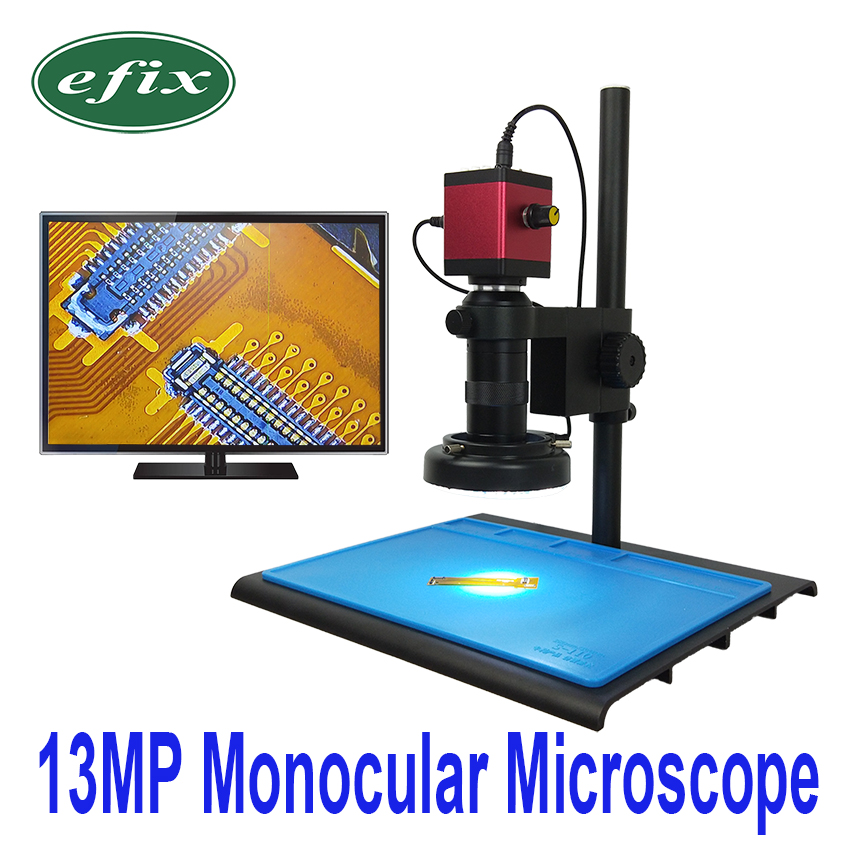 efix 13MP VGA HDMI HD Monocular Microscope Digital Camera Lens 56 LED Ring Light Big Workbench