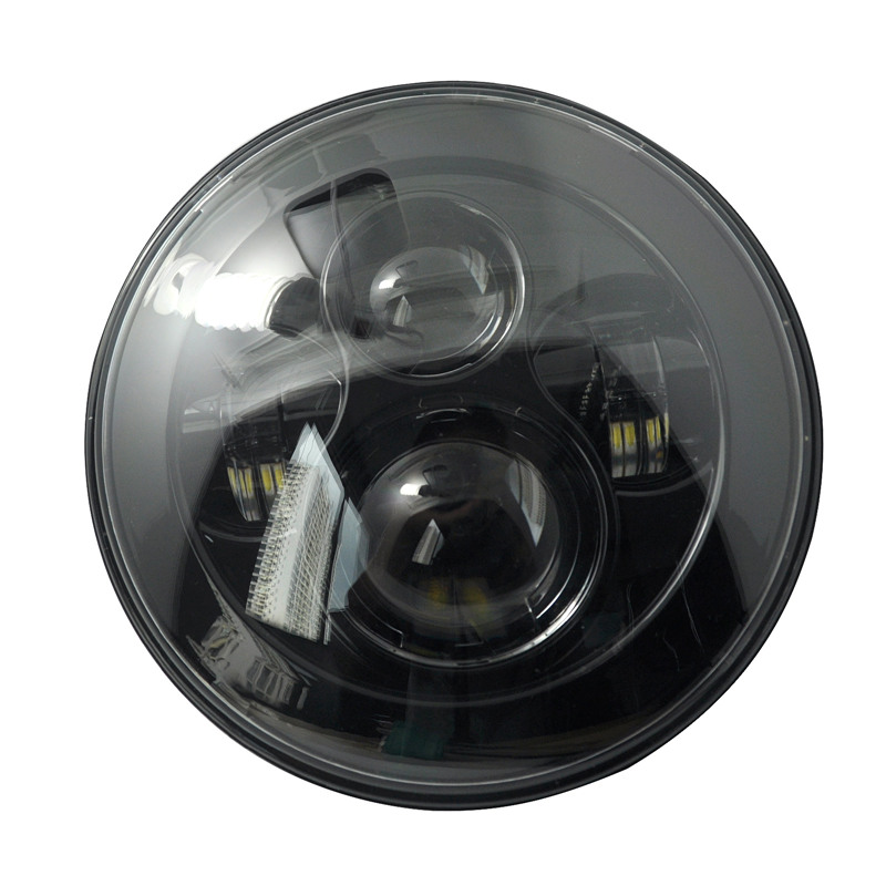 7 round LED Hi-Lo headlight beam For Harley Motorcycle & jeep LED Headlight Projector Daymaker HID Super bright light On Sale 7 inch motorcycle front daymaker projector led headlight chrome housing bucket for harley yamaha honda suzuki 7 round headlamps