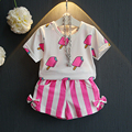 2016 Summer Fashion Brands Toddler Girls Clothes Children's Clothing Kids Sets Cartoon Top+Shorts 2pcs Baby Suits 0-7Year BC1389