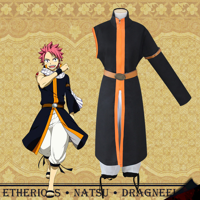 Anime Fairy Tail Etherious Natsu Dragneel Cosplay Costume Third Generations Black Long Trench Clothes Pants and scarf Prop