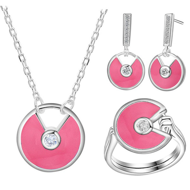 Jewelry set for women fashion pink/black/blue jewelry silver plated necklaces rings stud earrings Jewelry Sets